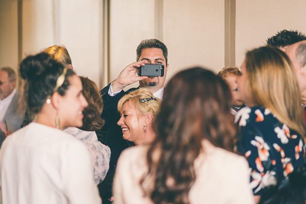 Mobile phone at wedding