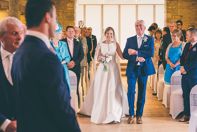 Brides arrival at Great Tythe barn