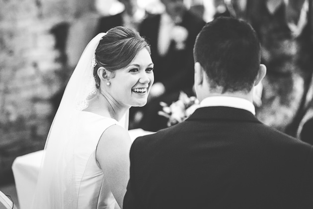 Candid gance from bride to groom
