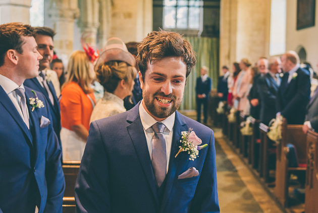 Grooms First Look at Bride