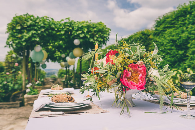 Table decor with garden backdrop