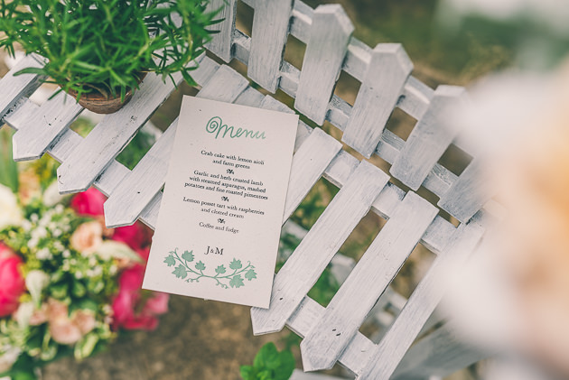 Close up of wedding stationery