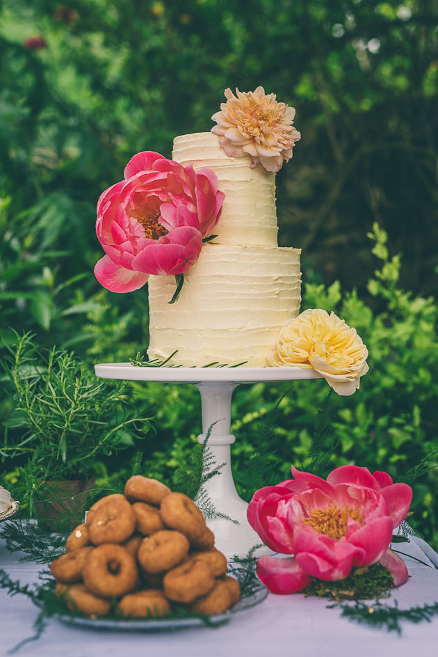 Tall wedding cake with flowers
