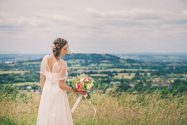 Holding bouquet with view of Cheltenham