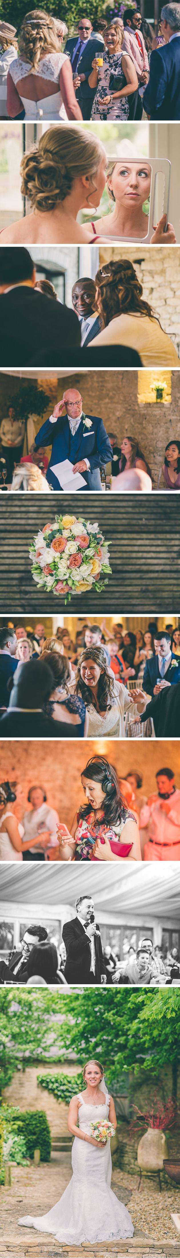 Bride and groom entering wedding breakfast room