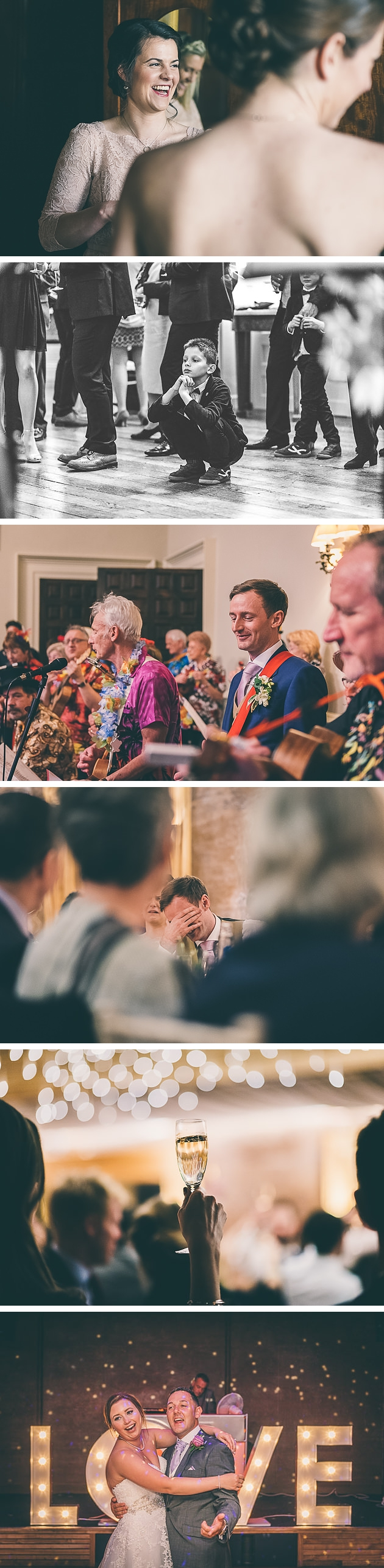 Groom playing a musical instrument at Elmore Court