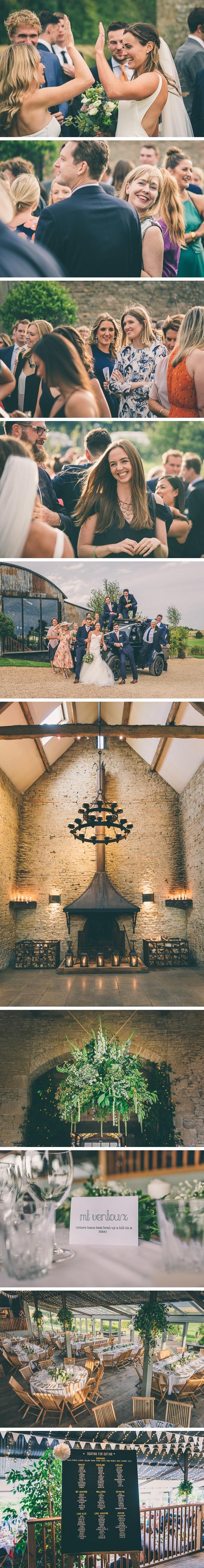 Table decor for a stone barn wedding
