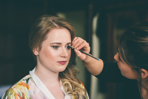 Eye makeup applied to bride