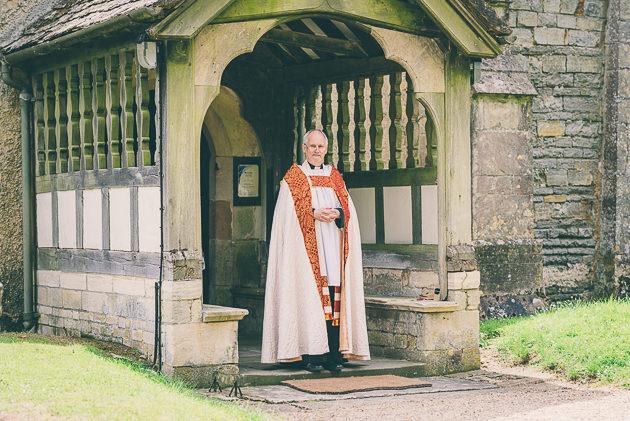 Vicar waiting for bridal party