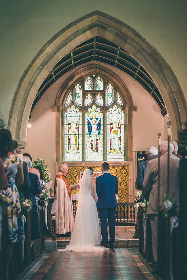Wide angle of church ceremony