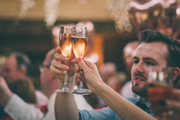 Raising a toast at wedding speech