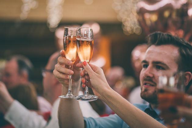 Raising a toast at wedding speech