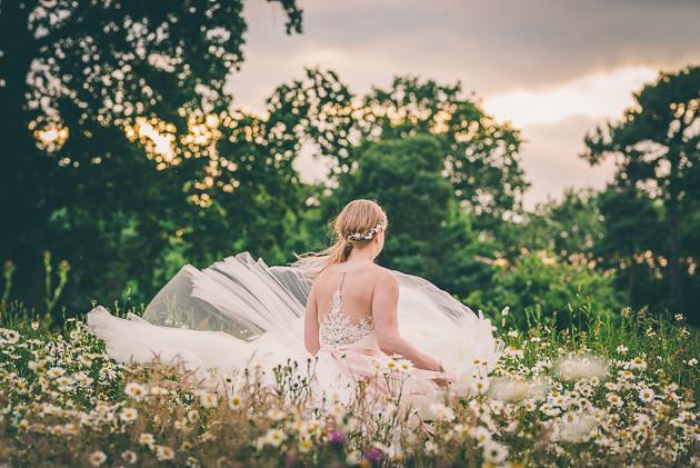 Birde spinning in wedding dress