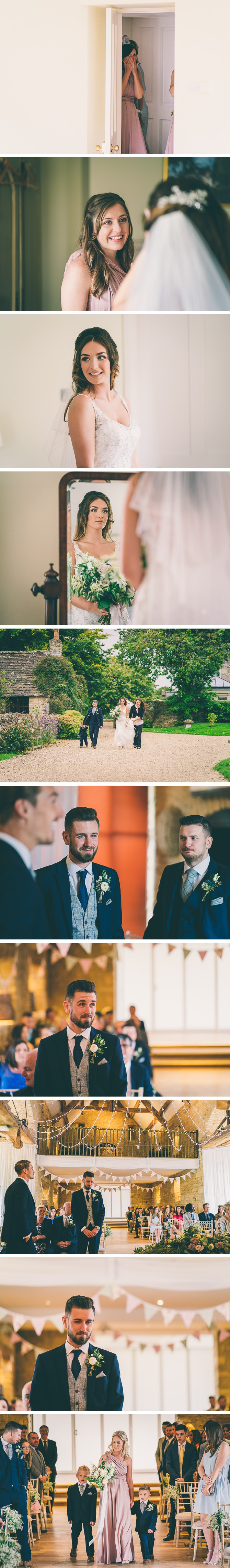 Groom waiting at the end of aisle at Great Tythe Barn