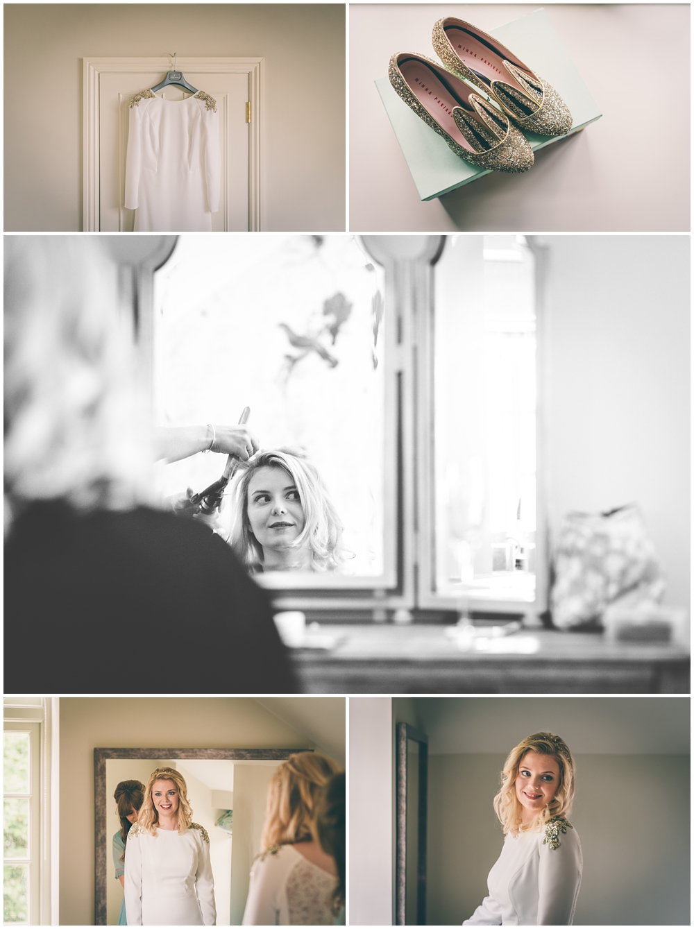 Bridal preparations in the Coach House at Elmore Court