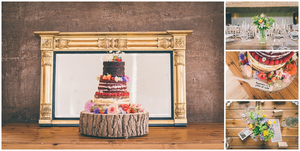 The wedding cake on display at Elmore Court