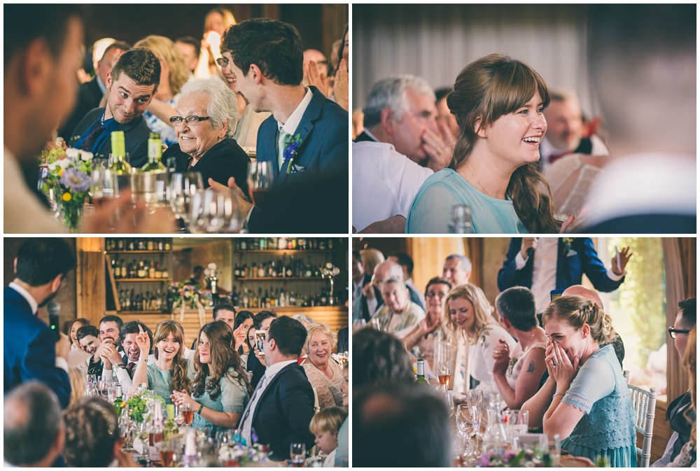 Guests reactions during the wedding speeches