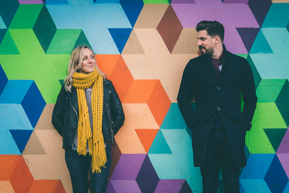 Colourful backgrounds for an engagement shoot